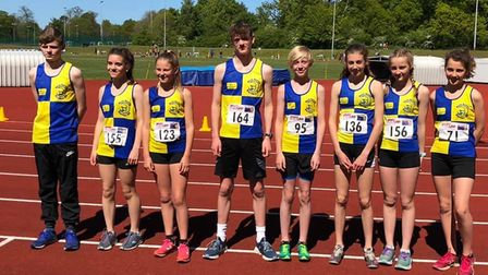 Pictured from left to right at the County Championships are North Norfolk Harriers athletes Josh Kee
