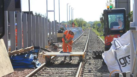 Workers are installing a new 80-metre platform at Sheringham Railway Station. Picture: KAREN BETHELL
