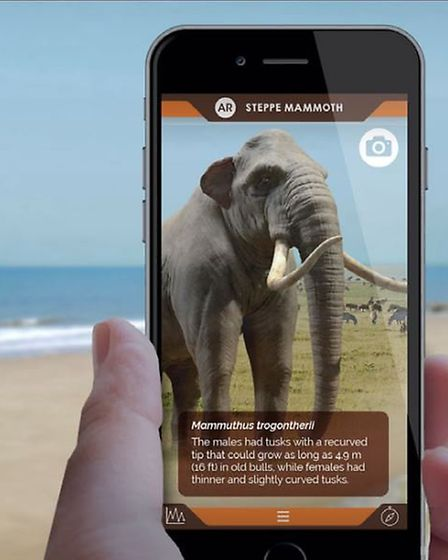The Deep History Coast app will allow visitors to the area to 'see' mammoths and other extinct speci