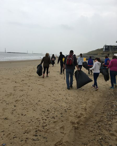 Volunteers taking part in a beach clean at Sea Palling. Picture: SUPPLIED BY RACHEL SPIGHT