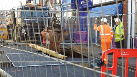 Sheringham sink hole day 2 builders seen filling in the hole. Photo: Paul Reynolds