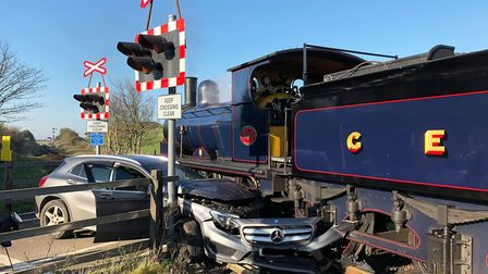 A car collided with a steam train at the Sweet Briar Road crossing in Sheringham. Picture: Howard De