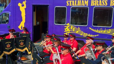 Stalham Brass Band perform at the Stalham Fringe Festival. Pictures: supplied by Tim Thirst