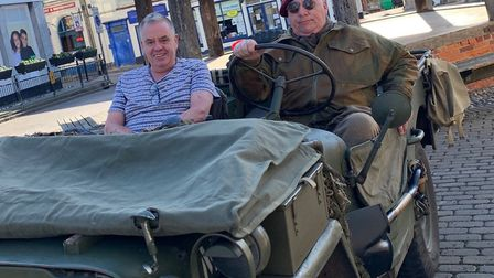 Rob Scammell, left, and Gordon Cannell from the Memory Lane Living History group in a 1944 Jeep in f