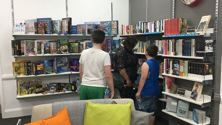 Shoppers browse in the new Cromer EACH store's book room. Photo: Jessica Frank-Keyes