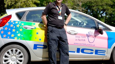 The 'rainbow police car' at the Stody Lodge Rainbow Party. Picture: NORFOLK POLICE