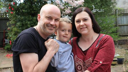 Kevin and Julie Pitcher with their five-year-old son Benedict, who has been diagnosed with inoperabl