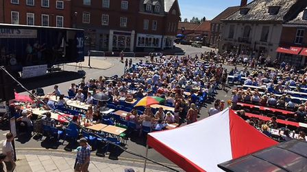 The scene at Aylsham's Market Place for last year's Aylsham Big Lunch. Picture: SUPPLIED BY SUE LAKE