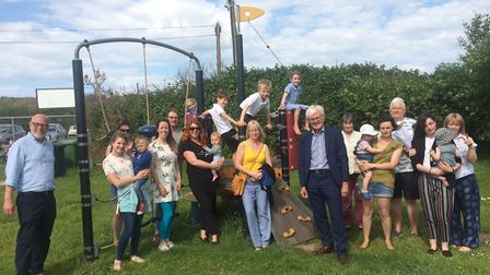 Families join Norman Lamb at Sea Palling playing field in Clink Road. Pictures: David Bale
