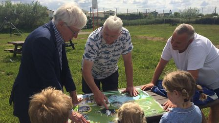 Norman Lamb looks at the plans ro revamp Sea Palling playing field in Clink Road. Pictures: David Ba