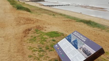 A large barge is off the Norfolk coast at Bacton, as part of a huge sandscaping project. Picture: NN
