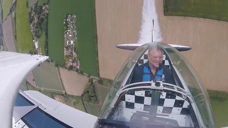 View from cockpit as aerobatic display duo started their 10th year as a team with a display on home