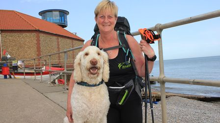 Anita Lusher training for her 500-mile charity walk with her dog Vinnie.Photo: KAREN BETHELL