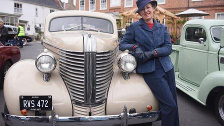 Antoinette Ford with her 1938 Pontiac, one of the vehicles on show at the Reepham Classic Car Festiv