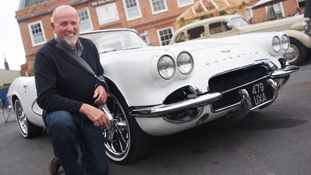 Tim Bishop with his 1961 C1 Corvette on show at the Reepham Classic Car Festival. Picture: DENISE BR