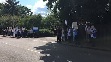 Protesters outside North Walsham and District war memorial hospital. Pictures: Unison