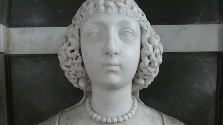 A bust of Lady Katherine Paston at her tomb in Oxnead church. Lady Katherine died in childbirth in 1