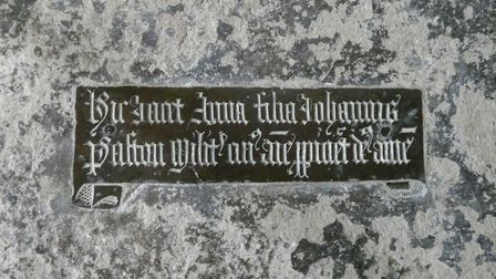 The brass memorial to Anna Paston, whic was recently discovered at Oxnead church. Picture: M CHAMPIO