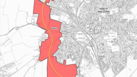 The north Norfolk draft local proposes a western extension to North Walsham of up to 1,800 homes. Ph