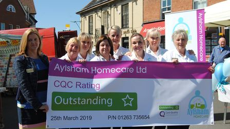 Aylsham Homecare staff celebrate CQC outstanding rating. Picture: supplied by Laura Grand