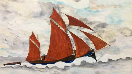 Watercolour by famous Sheringham fisherman artist John Craske. The painting features in a new Folkar