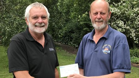 Aylsham Angling Society cheque presentation. Nigel Waller (l) and Richard Leeds. Picture: supplied b