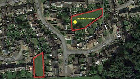 The two sites earmarked in Holt as potential play areas. Pictures: Holt Town Council