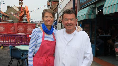 Carol and Geoff Long of Pungleperry's cafe, which has been hit by the closure of High Street for sin