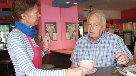 Business as usual: Carol Long serving a customer in Pungleperry's cafe.Picture: KAREN BETHELL