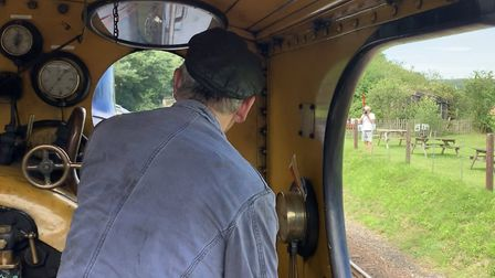 Ray Webb drives the Class Y14 locomotive on the North Norfolk Railway between Sheringham and Holt. P