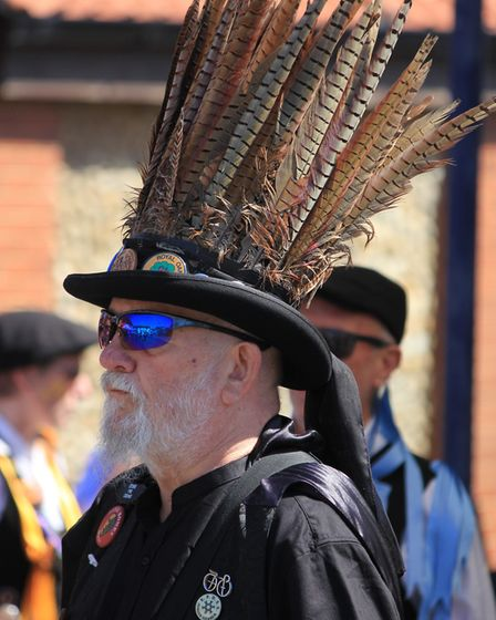 A feather-hatted dancer at Sheringham's Potty Morris and Folk FestivalPicture: KAREN BETHELL