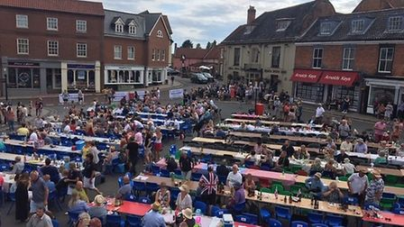 Aylsham's 2019 street part in the Market Place attracted hundreds of poeple. Picture: Supplied by Su