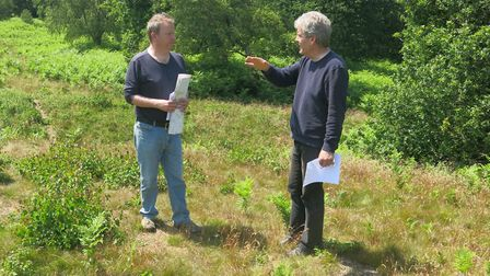 Landscape historian, Ian Groves, left, and Alistair Murphy, on site at the Salthouse Barrows. Pictur