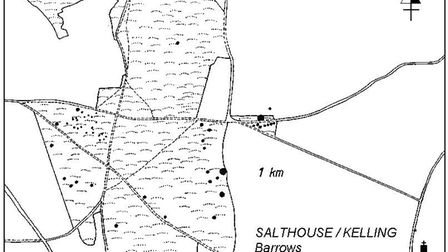 A map of the barrows at Salthouse and Kelling near the north Norfolk coast. Picture: Norfolk Museums