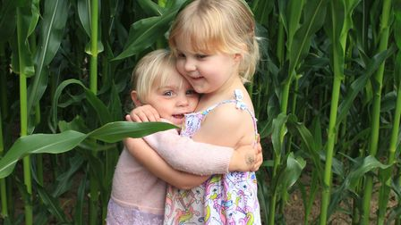 Three-year-old Ella Nunneley and her sister Mia, 2, who were among the first visitors to JR's Maize