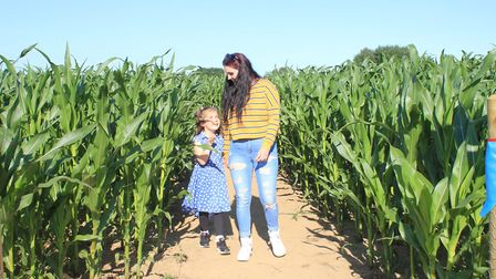 Five-year-old Lottie Birchnall and her mum Charlie having fun at JR's Maize Maze, in North Walsham.P