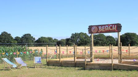 The beach, complete with deckchairs and buckets and spades, at JR's Maize Maze, North Walsham.Photo: