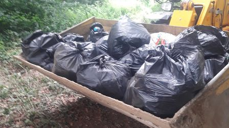 Some of the rubbish collected from the site of an illegal rave in west Norfolk. Picture: Supplied