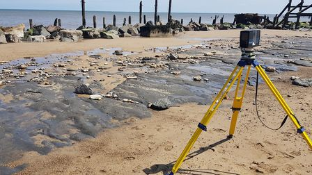 The prehistoric footprints that were seen on the beach at Happisburgh, Norfolk, before they were was