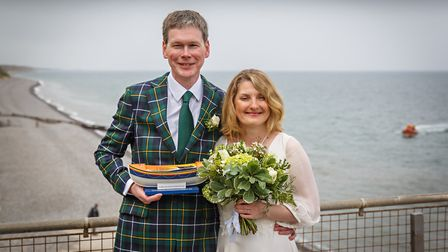 Newlyweds Andrew Willman and Caroline Stockwell, who asked guests for donations to Sheringham RNLI i