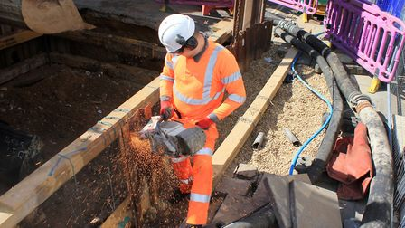 Anglian Water engineers have reached a damaged sewage pipe, after digging eight metres below the sur