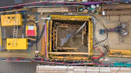 Sheringham sinkhole seen from the air. Picture: CHRIS TAYLOR