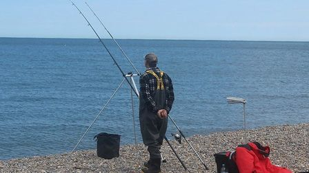 Fishing match contestant on Weybourne beachPicture: SUBMITTED