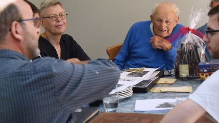 World War Two veteran, William 'Billy' Twiddy, chats with the Belgian family of the couple, Pierre a