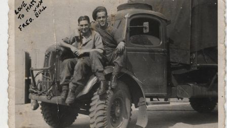Bill and best mate Fred Lighthowler with their Bedford lorry in WW2. Picture: Twiddy family
