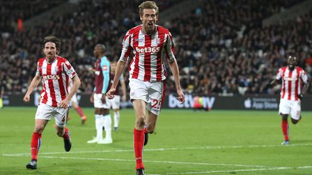 Stoke City's Peter Crouch celebrates scoring his side's goal against West Ham. Photo: Adam Davy/PA