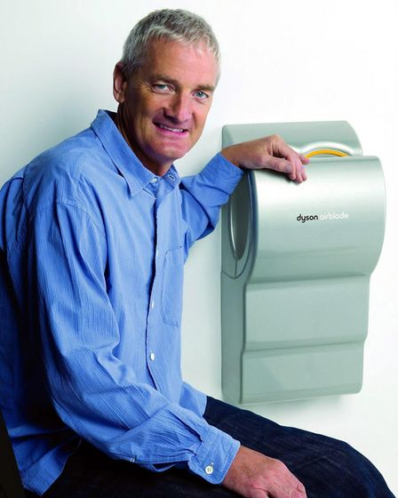 Sir James Dyson with another of his inventions, the Airblade hand dryer. Picture: James McCormick/Dy