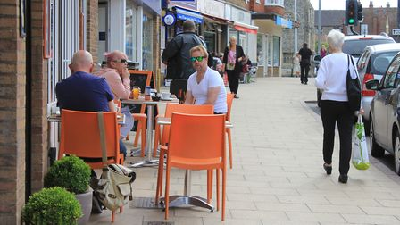 Cafe culture in Cromer, which could soon get a McDonald's restaurant and drive-through.Picture: KARE