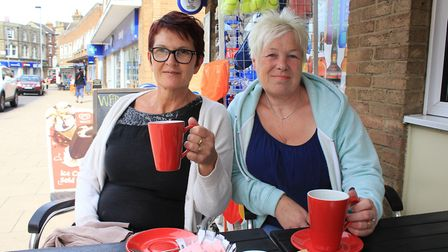 Trudy Wright and Tracey Hall enjoying a coffee at Cafe Main, in Church Street. The friends, who regu