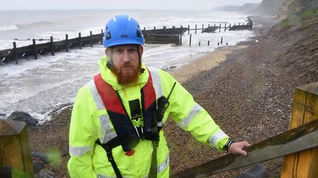Volunteer coastguard rescue officer Christon Iliffe, at Sidestrand beach near to where there was a c